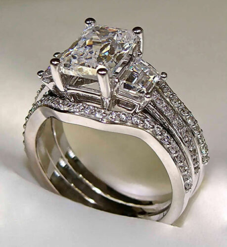 3.00Ct Radiant Cut Diamond Engagement Trio Ring Set In 14K White Gold Over