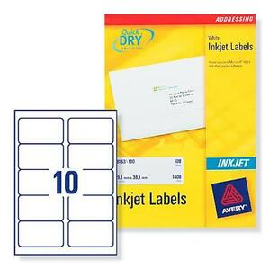 avery j8173 100 inkjet printer labels 10 per a4 sheet 5052183622932