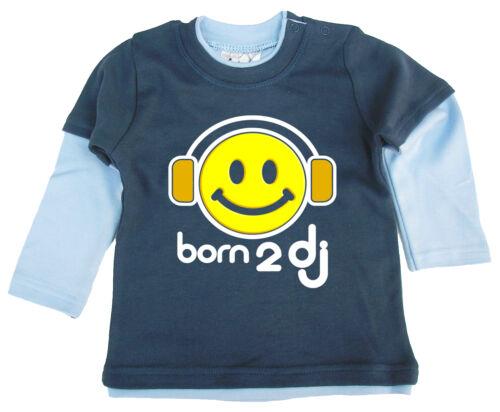 "Dirty Fingers Süßes Baby Skater Oberteil /"" Born To Dj /"" Musik Kopfhörer"