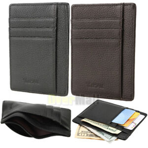 Image is loading RFID-Blocking-Minimalist-Genuine-Leather-Thin-Slim-Front- ab9a87c8d