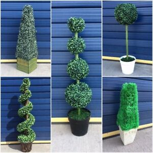 realistic large potted topiary tree indoor outdoor artificial plant bush foliage ebay. Black Bedroom Furniture Sets. Home Design Ideas