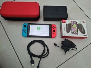 Nintendo Switch Console avec neon bleu/rouge néon Joy-détenu contrôleurs+ housse