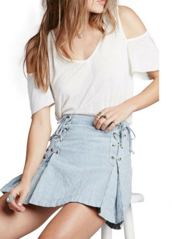 Free People OB496355 Railroad Striped Lace Up Front Mini Skirt bluee Combo  88