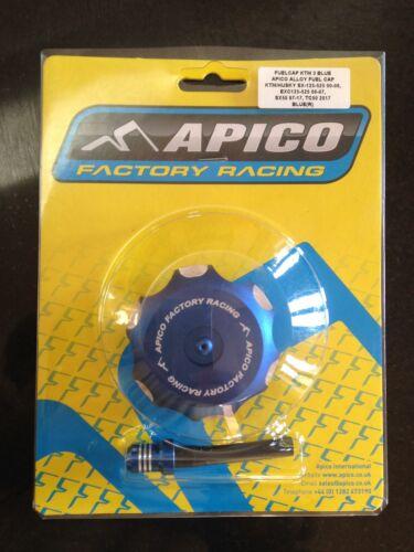 KTM SX 125 144 200 250 525 2000-2006 APICO ALLOY FUEL PETROL CAP /& VENT PIPE BLU