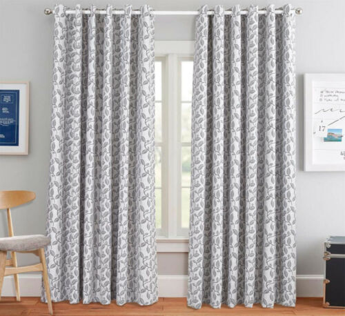 Heavy Jacquard Chenille Curtains Pair Fully Lined Ring Top Eyelet Free Tiebacks