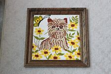 Framed Needlework Dog Puppy Terrier Yorkie Picture Hanging Yellow Green Flowers