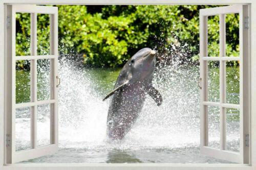 DOLPHIN shark 3D Window View Decal WALL STICKER Home Decor Art Mural Animals