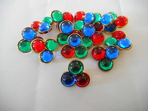 GEM69 * 12 MULTI-COLOURED GEM STONE & GOLD PLASTIC SHANK BUTTONS NEW/UNUSED 18MM