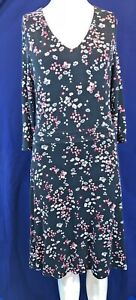 Laura-Ashley-Negro-Estampado-Floral-Manga-3-4-a-la-rodilla-Vestido-Con-Forro-Size-UK-10