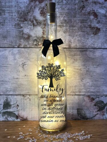 Family tree branches stick together light up wine bottle gift for day birthday C