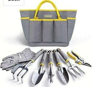 Jardineer Gardening Tools Set, 8 pc Heavy Duty Garden Tool Kit with Outdoor Bag