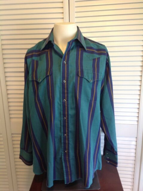 26005f951 Vintage Panhandle Slim Snap Shirt Men Size 16 1/2 34 Stripe Western USA (