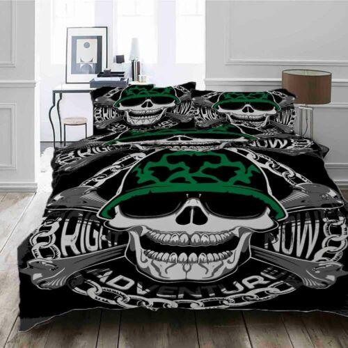 Green Hat Skull 3D Printing Duvet Quilt Doona Covers Pillow Case Bedding Sets