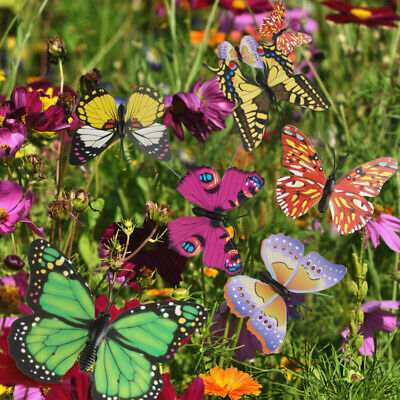 10-50Pcs Colorful Garden Butterflies Stakes Patio Butterfly Ornaments On Sticks