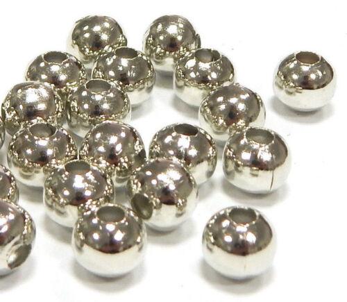 100 Métal Perles Entre Pièces Spacer Rond 6 mm Argent Métal Bijoux sf30a