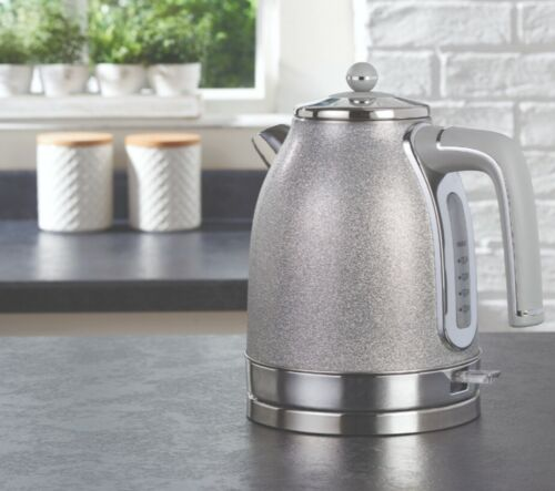 NEW GORGEOUS SPARKLE GREY KETTLE AND FOUR SLICE SPARKLE GREY TOASTER