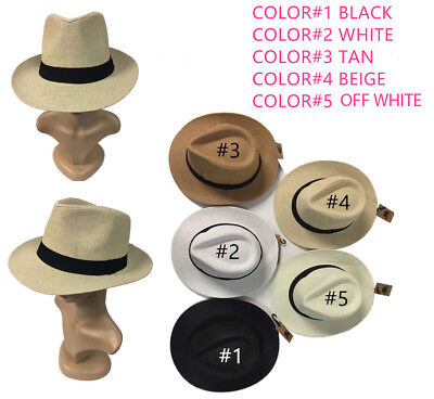 Women Men Brown Fedora Trilby Gangster Cap Summer Beach Sun Straw Panama Hat Bow