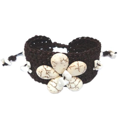 Bracelet Fleur de pierre blanche et crochet coton ciré marron Taille Ajustable