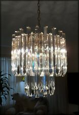 Beautiful Vintage Camer Murano Venini 60 Prisms 2 Tiers Crystal Chandelier Gold