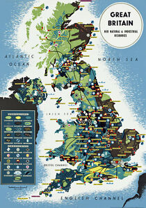 Tr41 vintage british uk map travel poster a1 a2 a3 ebay image is loading tr41 vintage british uk map travel poster a1 gumiabroncs Images