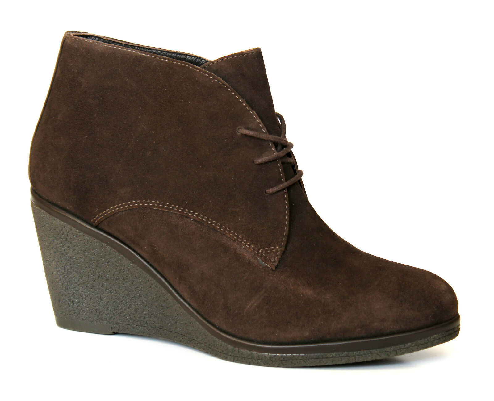John Lewis Madrid Ladies Brown Suede Leather Wedge Heel Ankle Boots