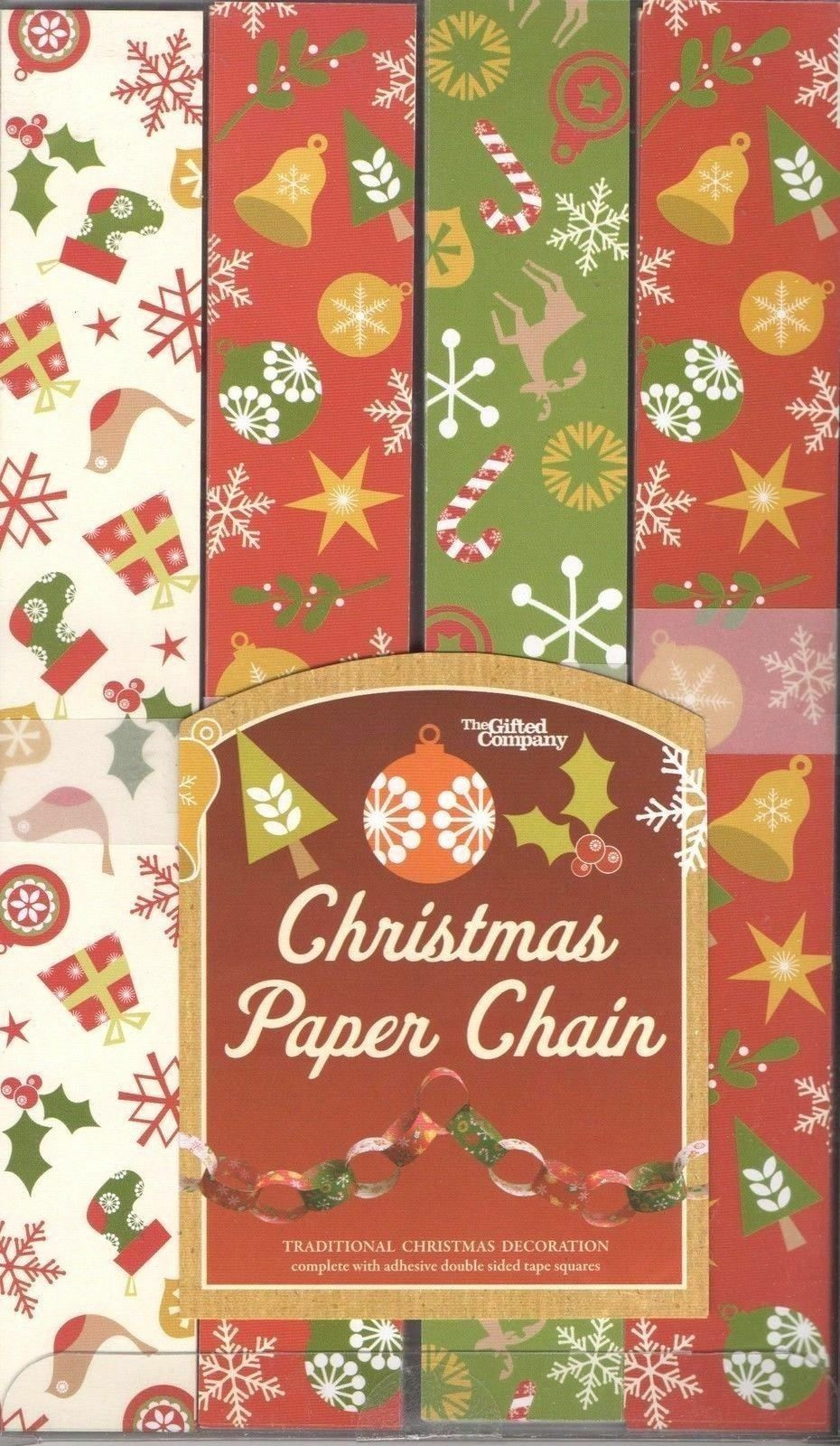 Christmas Paper Chains Decorations Set Of 200 In 3 Different