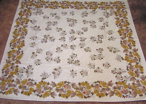Vintage-Cotton-Tablecloth-VERA-Signed-Shades-of-Brown-Flowers-and-Red-Ladybugs