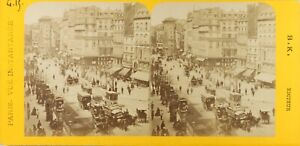 FRANCE-Paris-instantane-Boulevard-Saint-Denis-Photo-Stereo-Albumine-ca-1870