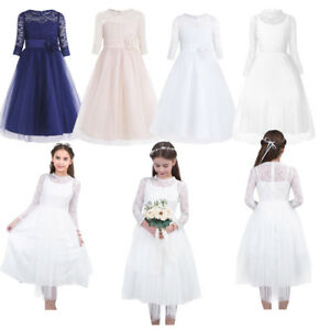 8f9f8ca7bbc0 Formal Kid Girls Tutu Dress Vintage Lace Princess Pageant Wedding ...