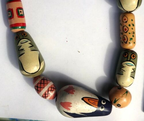 """30/"""" Unique Wooden Bead Necklace Hand Painted Animals Abstract Design Faces"""