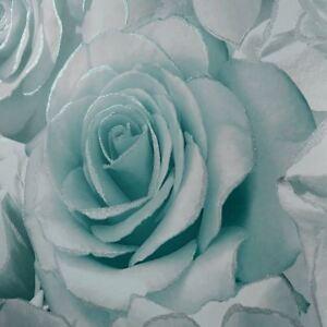 Madison-Rose-Paillette-Floral-Papier-Peint-Aqua-Gris-Muriva-139523-Neuf