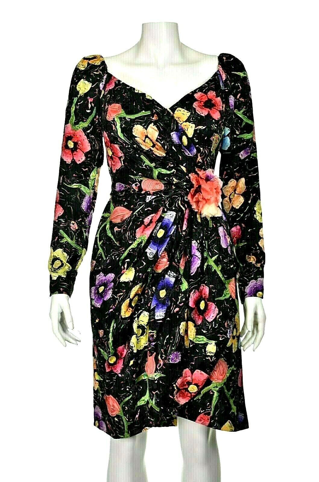ARNOLD SCAASI Vintage Silk Floral Cocktail Party … - image 1
