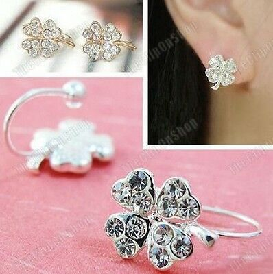 U CLIP ON studs CRYSTAL CLOVER EARRINGS rhinestone GOLD/SILVER plated stud lucky