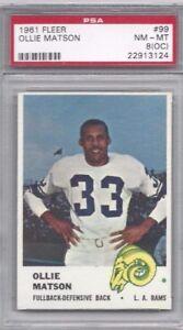 1961-Fleer-football-card-99-Ollie-Matson-Los-Angeles-Rams-PSA-8-OC