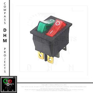 Interrupteur /à bascule ON OFF Lumineux Bipolaire 28x10mm 250V 15A ROUGE 3 Bornes