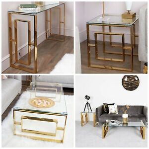 Gold Glass Stainless Steel Console Coffee End Tables Living Room Furniture Set Ebay