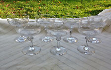 BACCARAT 7 RARES COUPES A CHAMPAGNE CRISTAL MODELE JEUX D'ORGUE JAMBE TAILLEE