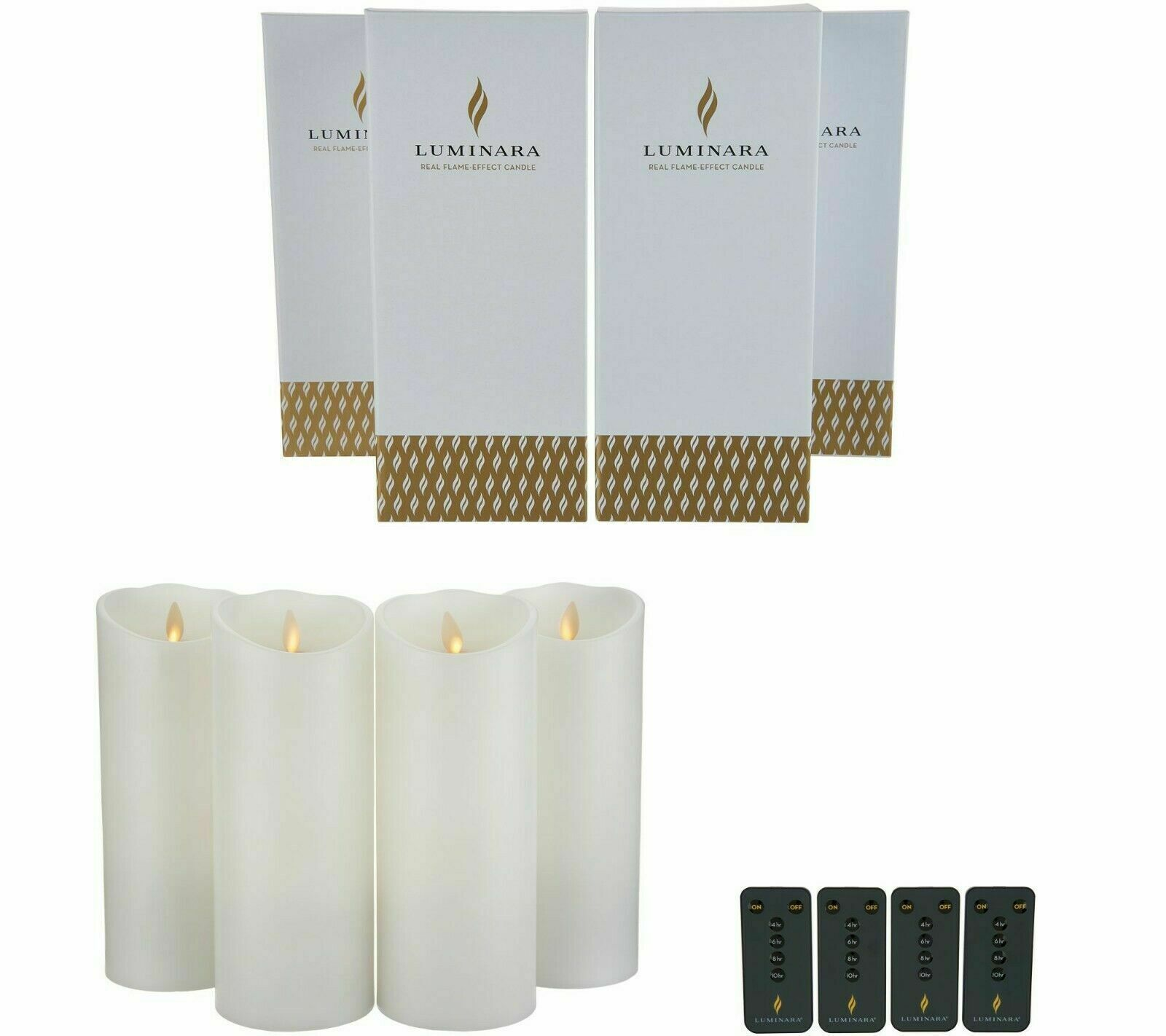 Luminara Flameless Candles 9  Set of Four- White with Remote