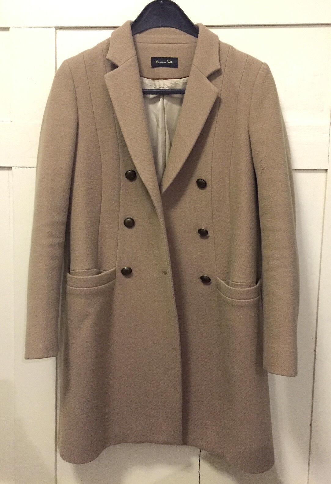Massimo Dutti Beige Camel Wool coat SIZE 38