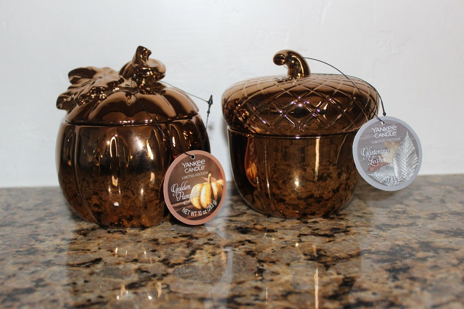 Yankee Candle golden Pumpkin & golden Acorn SetAutumn FallUSA Exclusive