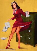 1940s Pin-up Girl Office Mishap Picture Poster Print Vintage Art Pin Up