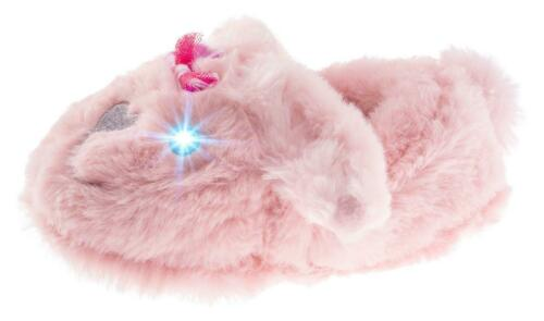 Little Girls Trimfit Bunny Slippers with Lite Up Eyes Pink Microsuede Sole