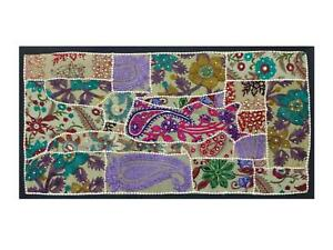 INDIAN-TAPESTRY-WALL-HANGING-TABLE-RUNNER-PATCHWORK-ETHINIC-SARI-WORK-TG69
