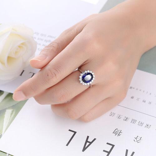 FLEUR fait main bijoux brillant London Blue Topaz Gemstone Silver Ring Taille 6-10