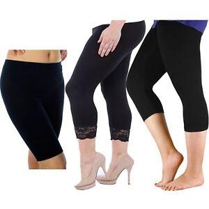 Angelsport 3/4 Plain Und Trimmen Schnüren Leggings 40-54 Diversifizierte Neueste Designs Damen Schwarz Heiß Radfahren Kurz Leggings
