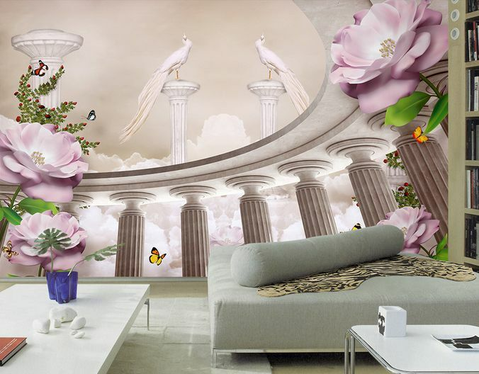 3D Hall, I Fiori 2 Parete Murale Carta da parati immagine sfondo muro stampa