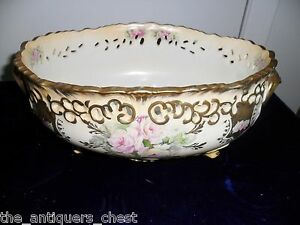 Mid-Century-center-piece-bisque-flowers-and-gold-MADE-IN-JAPAN