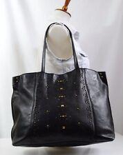 Lucky Brand BOHO Leather Tote Hand Bag Black Weekender Shopper Laser Cut Studded