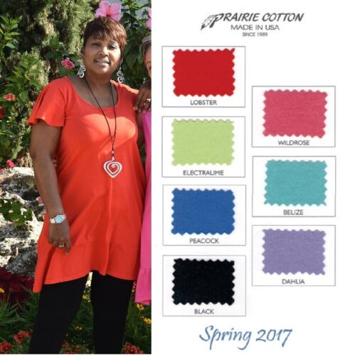 CLEARWATER COTTON USA  8366-P  FLUTTER SLEEVE DRESS Banded Hem  1X  SPRING 2017