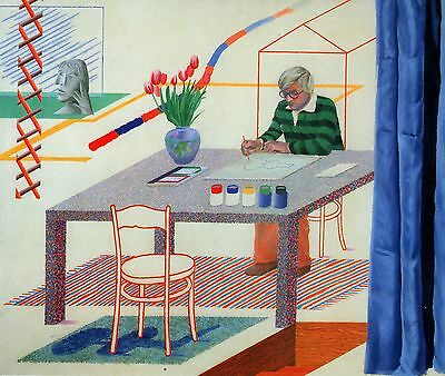 "DAVID HOCKNEY BOOK PRINT ""SELF-PORTRAIT WITH BLUE GUITAR"" ARTIST SKETCHING TABLE"